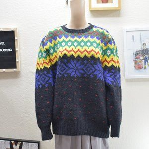 Hand Chunky Knit 100% Wool Grandpa Sweater